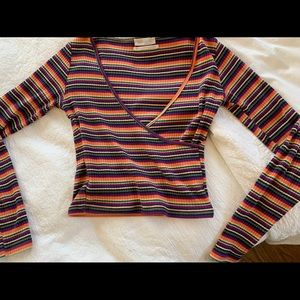 Urban Outfitters Long-Sleeve Colorful Wrap Top